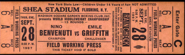 BENVENUTI, NINO-EMILE GRIFFITH FULL TICKET (1967)