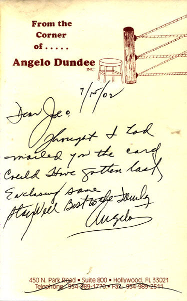 DUNDEE, ANGELO HAND WRITTEN & SIGNED NOTE