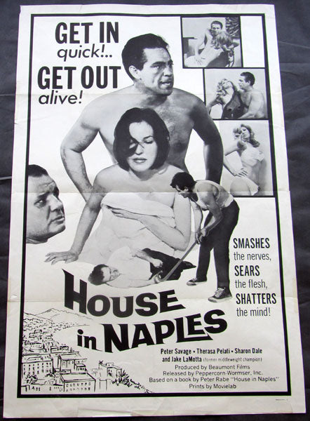 JAKE LAMOTTA ORIGINAL MOVIE POSTER HOUSE IN NAPLES (1968-X-RATED)