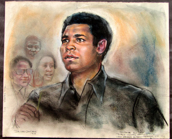 ALI, MUHAMMAD ORIGINAL ARTWORK BY IDA LIBBY DENSGROVE (1976-CARTER HEARING)