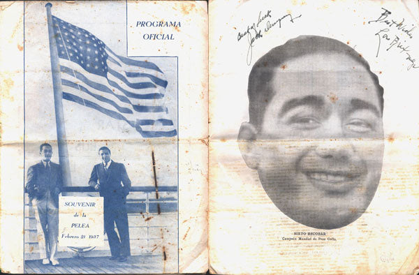 ESCOBAR, SIXTO-LOU SALICA OFFICIAL PROGRAM (SIGNED BY DEMPSEY-1937)