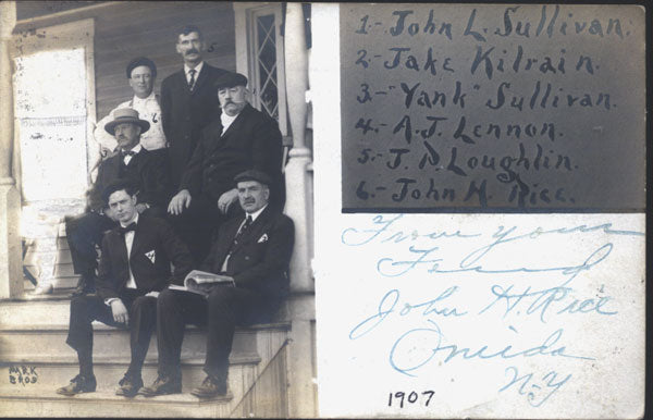 SULLIVAN, JOHN L.-JAKE KILRAIN & OTHERS REAL PHOTO POSTCARD (1907)