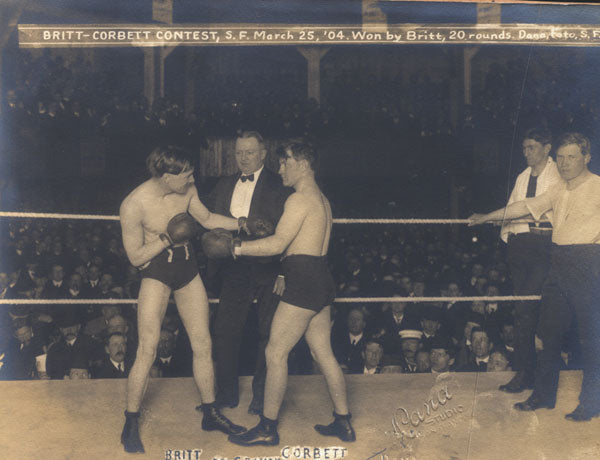 BRITT, JIMMY-YOUNG CORBETT II ORIGINAL ANTIQUE PHOTO (1904-SQUARING OFF)