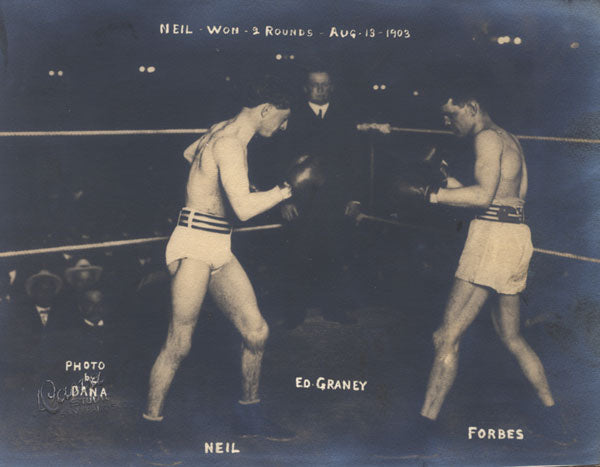 NEIL, FRANKIE-HARRY FORBES ORIGINAL ANTIQUE PHOTO (1903-SQUARING OFF)