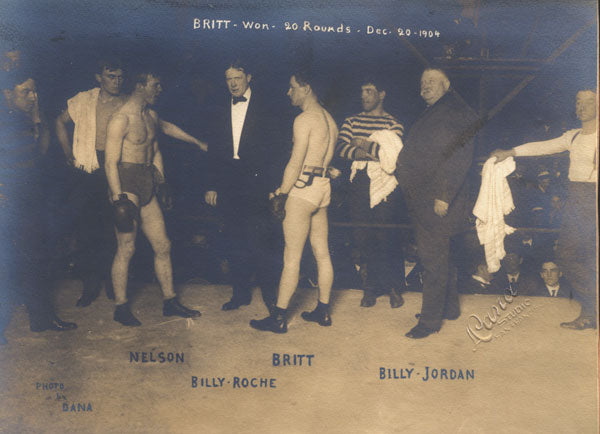 BRITT, JIMMY-BATTLING NELSON ORIGINAL ANTIQUE PHOTO (1904-SQUARING OFF)