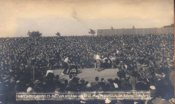 NELSON, BATTLING-FIGHTING DICK HYLAND ORIGINAL ANTIQUE PHOTO (1909-END OF FIGHT)