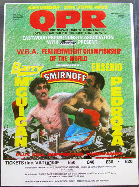 MCGUIGAN, BARRY-EUSEBIO PEDROZA ON SITE POSTER (1985)