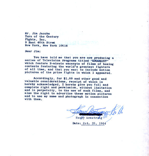 ARMSTRONG, HENRY SIGNED LETTER AGREEMENT (1964)