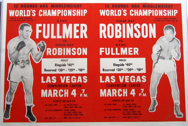 ROBINSON, SUGAR RAY-GENE FULLMER IV ON SITE POSTER (1961-RARE LARGE VERSION)