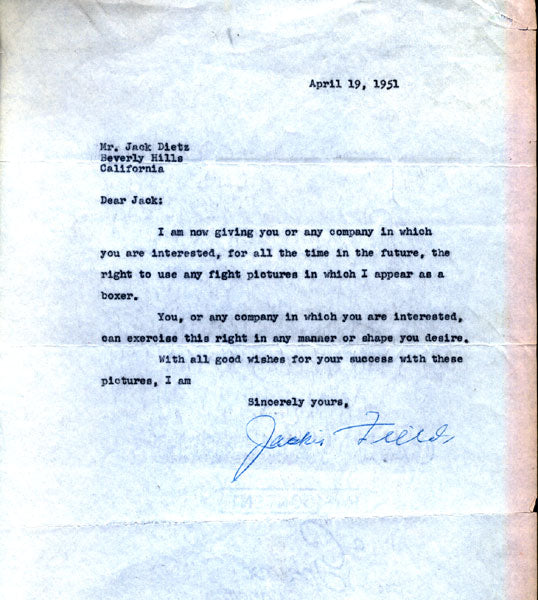FIELDS, JACKIE SIGNED LETTER AGREEMENT (1951)