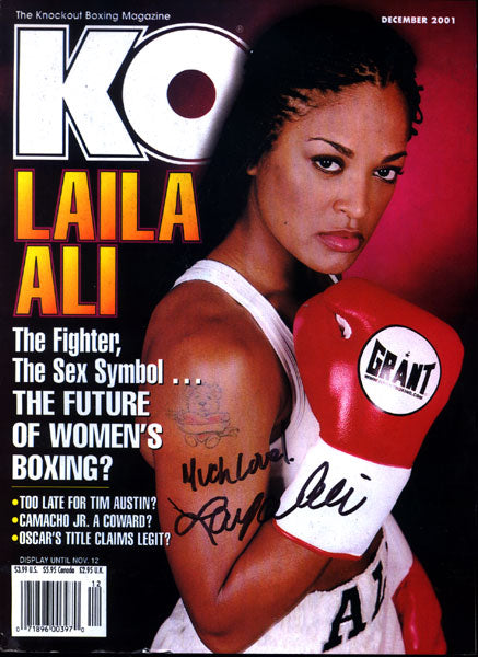 ALI, LAILA SIGNED BOXING MAGAZINE (KO-DECEMBER 2001)