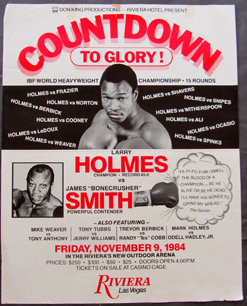 "HOLMES, LARRY-JAMES ""BONECRUSHER"" SMITH ON SITE POSTER (1984)"