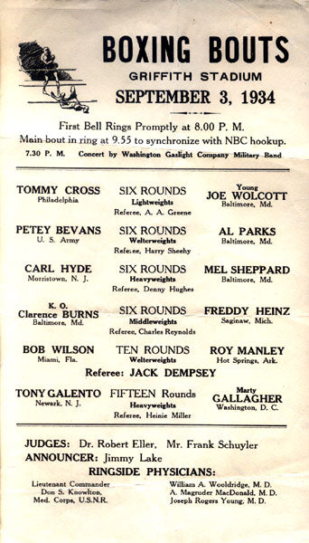 "GALENTO, TONY ""TWO TON""-MARTY GALLAGHER OFFICIAL PROGRAM (1934-JACK DEMPSEY REFEREE)"