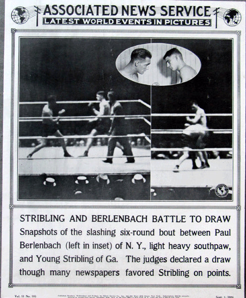 STRIBLING, YOUNG-PAUL BERLENBACH POST FIGHT POSTER (1924)