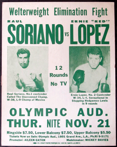 "LOPEZ, ERNIE ""INDIAN RED""-RAUL SORIANO ON SITE POSTER (1969)"