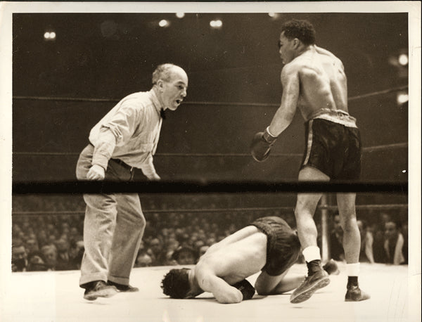 ARMSTRONG, HENRY-PEDRO MONTANEZ WIRE PHOTO (1940-8TH ROUND)