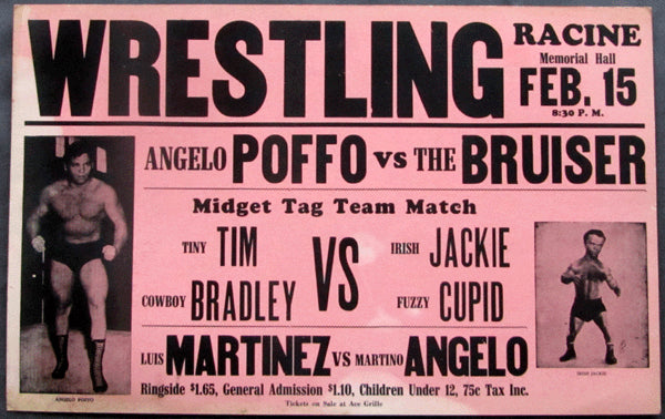 POFFO, ANGELO-DICK THE BRUISER ON SITE POSTER (1956-WRESTLING)
