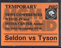 TYSON, MIKE-BRUCE SELDON TEMPORARY CREDENTIAL (1996)