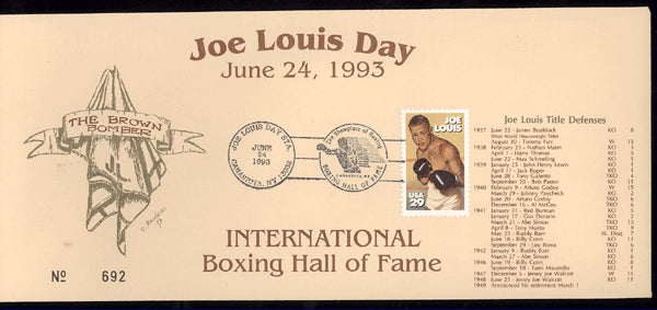 LOUIS DAY, JOE HALL OF FAME ENVELOPE (1993)