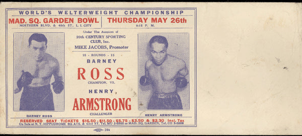 ARMSTRONG, HENRY-BARNEY ROSS ADVERTISING FIGHT ENVELOPE (1938)