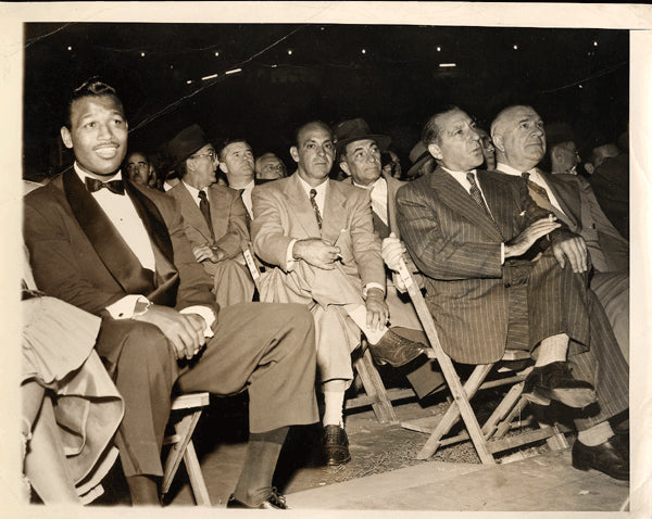 ROBINSON, SUGAR RAY & FRANK COSTELLO WIRE PHOTO (1951 AT PEP-SADDLER FIGHT)