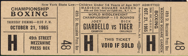 GIARDELLO, JOEY-DICK TIGER FULL TICKET (1965-PSA/DNA AUTHENTICATED)