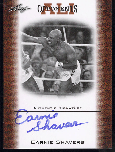 SHAVERS, EARNIE SIGNED ALI OPPONENTS LEAF CARD (2010)
