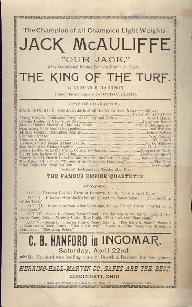MCAULIFFE, JACK THEATRE PROGRAM (THE KING OF THE TURF-1893)