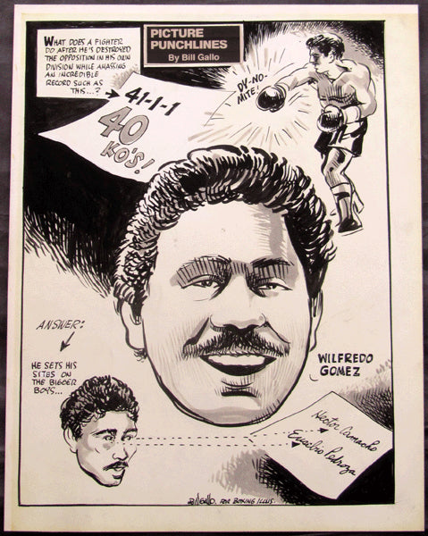 GOMEZ, WILFREDO CARTOON ART (BY BILL GALLO-1984)