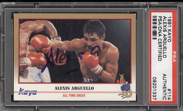 ARGUELLO, ALEXIS SIGNED KAYO CARD (1991-PSA/DNA AUTHENTICATED)