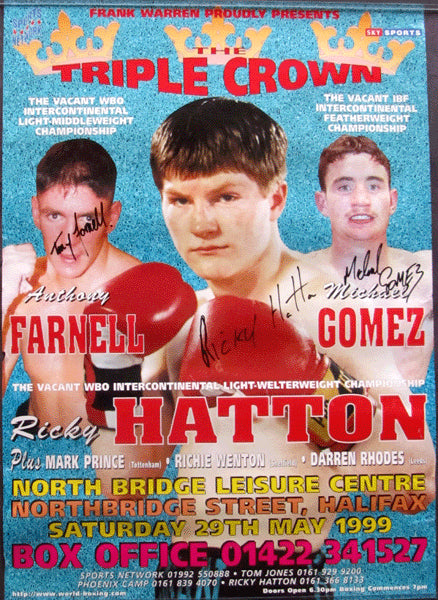 HATTON, RICKY-DILLON CAREW SIGNED ON SITE POSTER (1999)