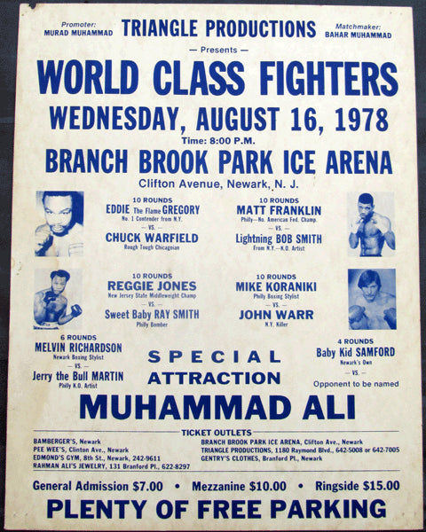 ALI, MUHAMMAD APPEARANCE & GREGORY-WARFIELD & MUHAMMAD-BRIGHT ON SITE POSTER (1978)