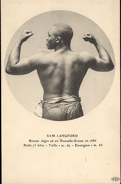 LANGFORD, SAM REAL PHOTO POSTCARD (FLEXING-FRENCH)