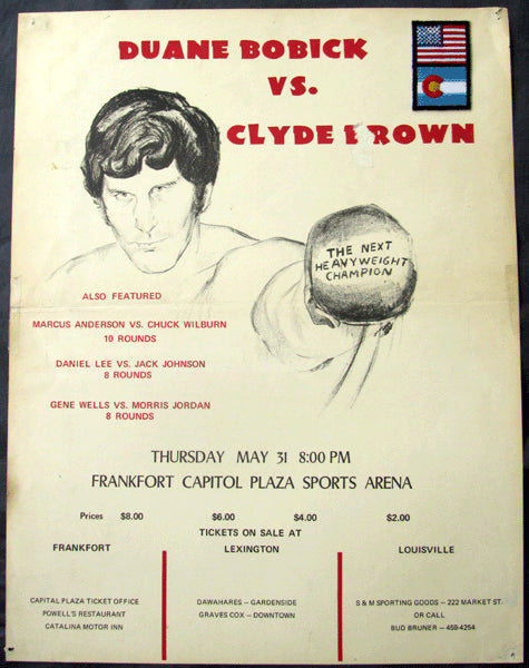 BOBICK, DUANE-CLYDE BROWN ON SITE POSTER (1973-4TH PRO FIGHT)