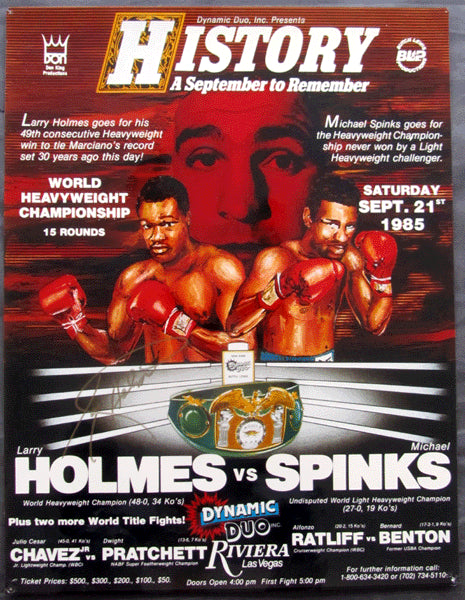 HOLMES, LARRY-MICHAEL SPINKS I & JULIO CESAR CHAVEZ-PRATCHETT ON SITE POSTER (1985)