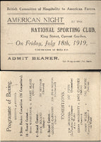 BOXING EXHIBITION FULL TICKET (1919-DRISCOLL, WILDE)