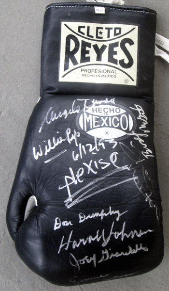 BOXING HALL OF FAMERS SIGNED GLOVE (ARGUELLO, PEP-10 IN ALL),