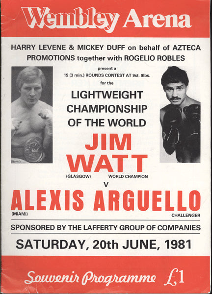 ARGUELLO, ALEXIS-JIM WATT OFFICIAL PROGRAM (1981)
