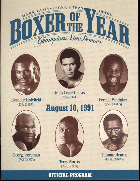 BOXER OF THE YEAR PROGRAM (1991-HOLYFIELD, CHAVEZ, FOREMAN & OTHERS)