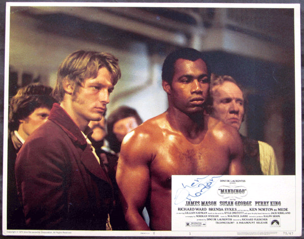 NORTON, KEN SIGNED MOVIE LOBBY CARD (MANDINGO-1975)