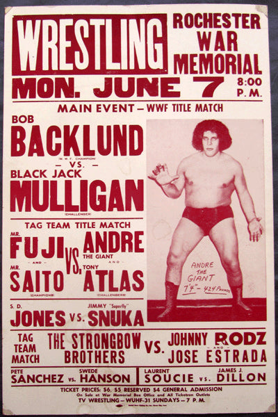 ANDRE THE GIANT ON SITE WRESTLING POSTER (1982)