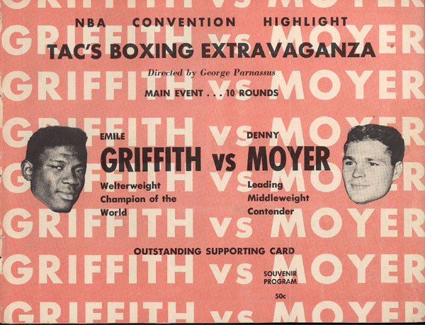 GRIFFITH, EMILE-DENNY MOYER OFFICIAL PROGRAM (1962-SIGNED BY MOYER)