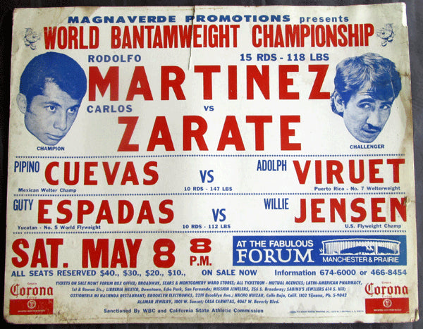 ZARATE, CARLOS-RODOLFO MARTINEZ ON SITE POSTER (1976-ZARATE WINS TITLE)