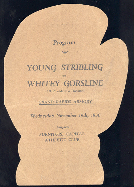 STRIBLING, YOUNG-WHITEY GORSLINE OFFICIAL PROGRAM (1930)