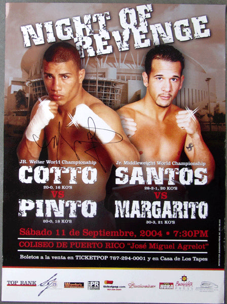 COTTO, MIGUEL-KELSON PINTO & ANTONIO MARGARITO-DANIEL SANTOS ON SITE POSTER (2004-SIGNED BY COTTO)
