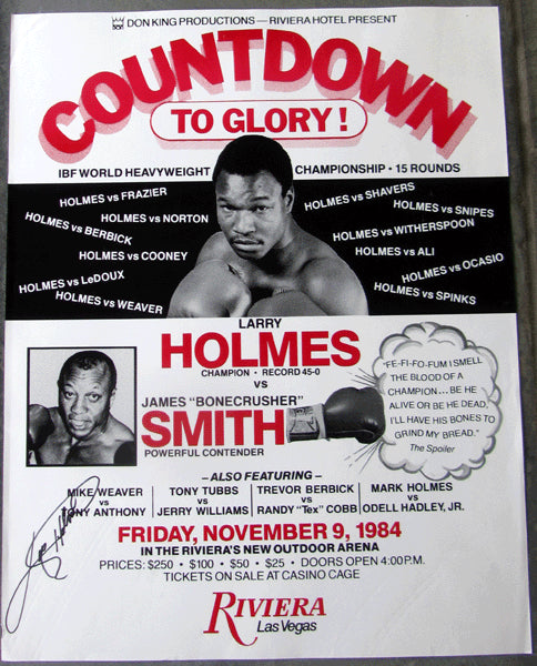 "HOLMES, LARRY-JAMES ""BONECRUSHER"" SMITH ON SITE POSTER (1984-SIGNED BY HOLMES)"