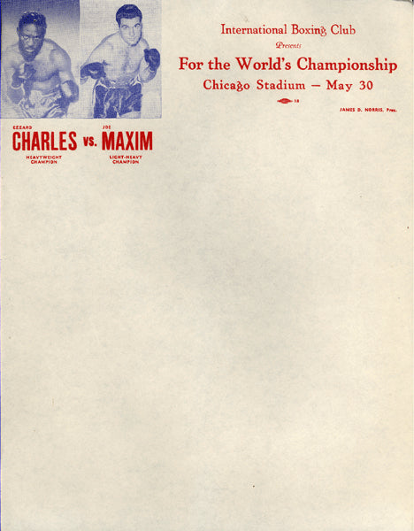 CHARLES, EZZARD-JOEY MAXIM FIGHT LETTERHEAD (1951)