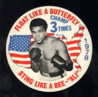 ALI, MUHAMMAD 3 TIME CHAMP VINTAGE PIN (1978)