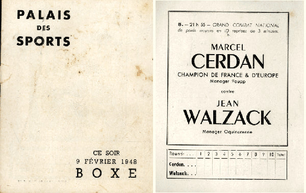 CERDAN, MARCEL-JEAN WALZACK OFFICIAL PROGRAM (1948)