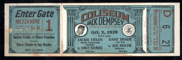 FIELDS, JACKIE-VINCE DUNDEE & DAVE SHADE-JOE ROCHE FULL TICKET (1929)
